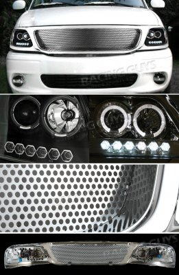 Ford Expedition 1999 2002 Chrome Custom Grille And Black Projector Headlights