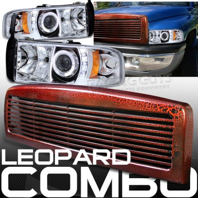 Dodge ram 1994 2001 red billet grille and clear halo projector dodge ram 1994 2001 red billet grille and clear halo projector headlights sciox Gallery