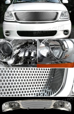 2002 Ford F150 Chrome Custom Grille and Euro Headlights