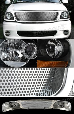 2002 Ford F150 Chrome Custom Grille and Black Euro Headlights