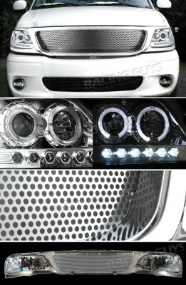 2002 Ford F150 Chrome Custom Grille and Projector Headlights