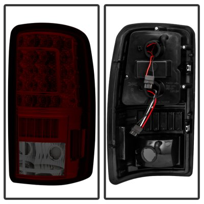 Chevy Suburban 2000-2006 Red Smoked LED Tail Lights