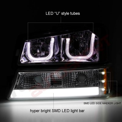 Chevy Silverado 2003-2006 Smoked LED DRL Headlights Set Custom LED Tail Lights