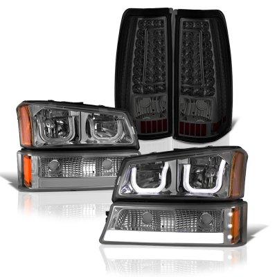 2003 Chevy Silverado 2500 Smoked LED DRL Headlights Set Custom LED Tail Lights