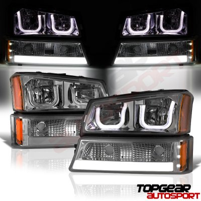 2006 Chevy Silverado Tail Lights >> Chevy Silverado 3500 2003-2006 Smoked LED DRL Headlights Set Custom LED Tail Lights ...