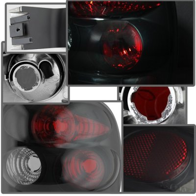 Chevy Silverado Stepside 1999-2004 Black Smoked LED Tail Lights