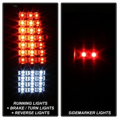 Chevy Silverado 2500 1999-2002 Black Full LED Tail Lights C-DRL