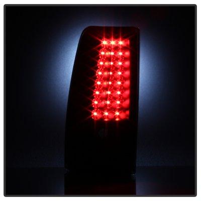 Chevy Silverado 2500 1999-2002 Black Smoked LED Tail Lights C-DRL