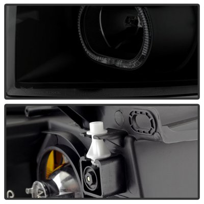 Chevy Silverado 2007-2013 Black Smoked Halo LED DRL Projector Headlights
