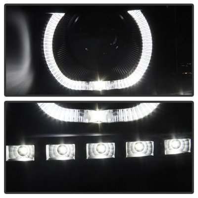 Chevy Silverado 2007-2013 Black Smoked Halo LED DRL Projector Headlights