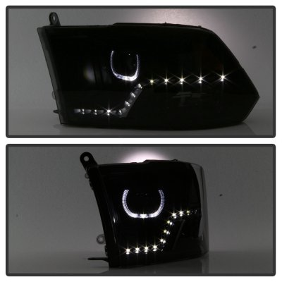 Dodge Ram 2009-2017 Black Smoked Halo Projector Headlights LED DRL