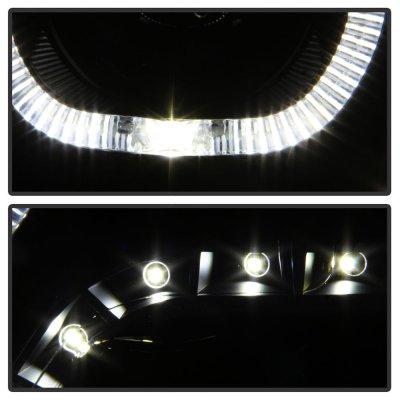 Dodge Ram 2009-2018 Black Smoked Halo Projector Headlights LED DRL