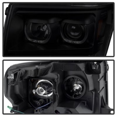 Ford F150 2009-2014 Black Smoked Halo Projector Headlights LED DRL