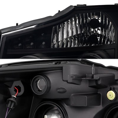 Nissan Armada 2004-2007 Black Smoked LED Halo Projector Headlights