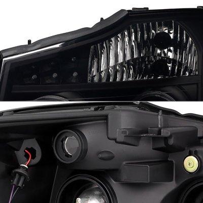 Nissan Titan 2004-2015 Black Smoked LED Halo Projector Headlights