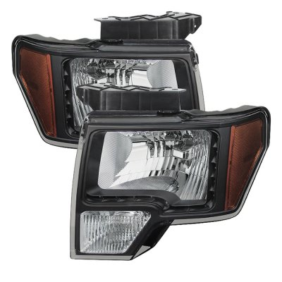 Ford F150 2009-2014 Black Headlights LED DRL