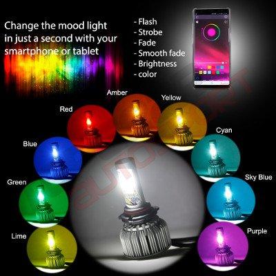 Dodge Dakota 1987-1990 H4 Color LED Headlight Bulbs App Remote