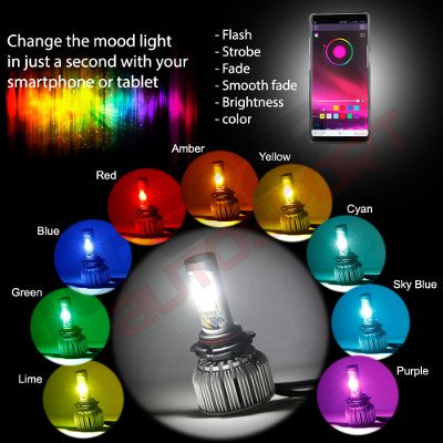 Chevy El Camino 1964-1970 H4 Color LED Headlight Bulbs App Remote