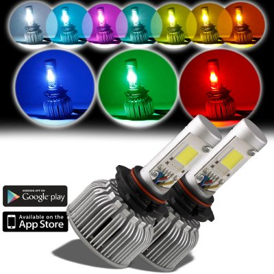 Jeep Wrangler 1997-2006 H4 Color LED Headlight Bulbs App Remote