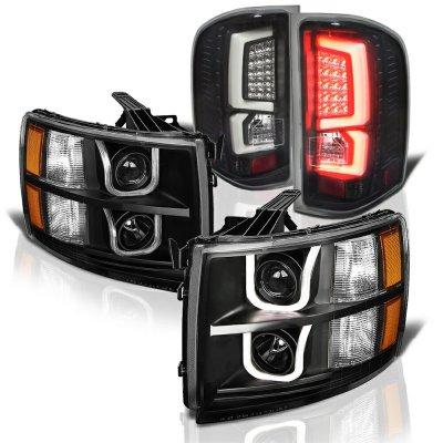Chevy Silverado 2500HD 2007-2014 Black LED DRL Projector Headlights Custom LED Tail Lights
