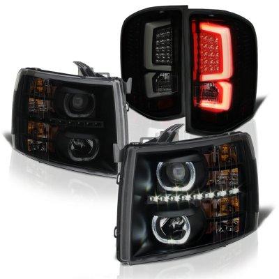 Chevy Silverado 2500HD 2007-2014 Black Smoked Halo DRL Projector Headlights Custom LED Tail Lights