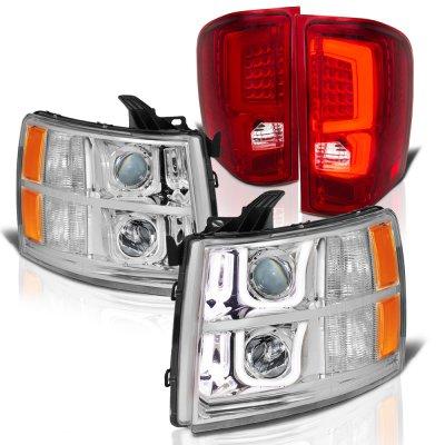 Chevy Silverado 2500HD 2007-2014 Halo DRL Projector Headlights Custom LED Tail Lights
