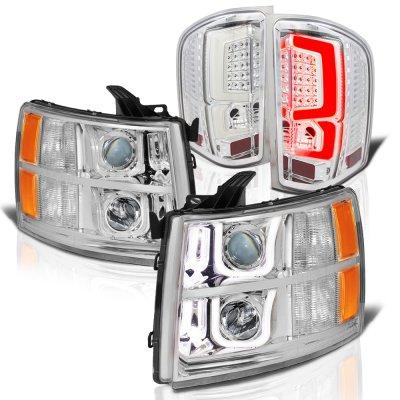 Chevy Silverado 2500HD 2007-2014 Chrome Halo DRL Projector Headlights Custom LED Tail Lights