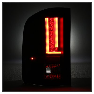 Chevy Silverado 2500HD 2007-2014 Black Smoked L-Custom LED Tail Lights