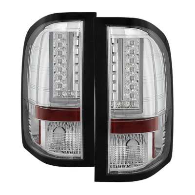 Chevy Silverado 2500HD 2007-2014 Chrome L-Custom LED Tail Lights