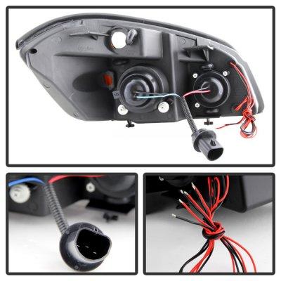Chevy Cobalt 2005-2010 Black LED Halo Projector Headlights