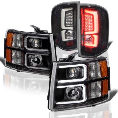 Chevy Silverado 2007-2013 Black Custom DRL Projector Headlights LED Tail Lights