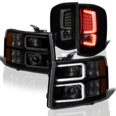 Chevy Silverado 2007-2013 Black Smoked Custom DRL Projector Headlights LED Tail Lights