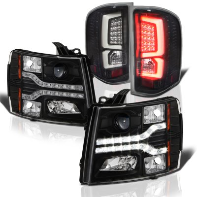 Chevy Silverado 2500HD 2007-2014 Black Facelift DRL Projector Headlights Custom LED Tail Lights