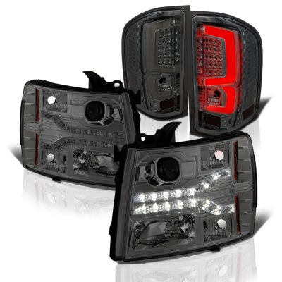 Chevy Silverado 2500HD 2007-2014 Smoked Facelift DRL Projector Headlights Custom LED Tail Lights