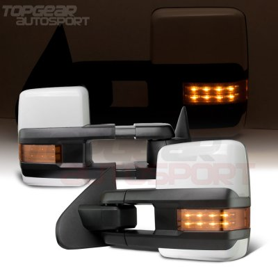 Chevy Silverado 2014-2018 White Towing Mirrors LED Lights Power Heated