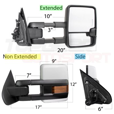 Chevy Silverado 2500HD 2015-2018 White Towing Mirrors LED Signal Power Heated