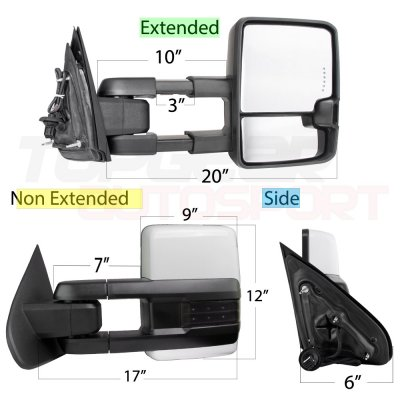 Chevy Silverado 2014-2018 White Towing Mirrors Smoked LED Signal Power Heated