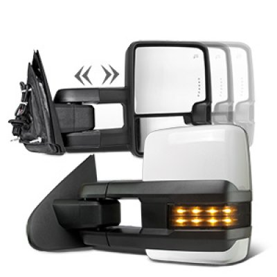 Chevy Silverado 2500HD 2015-2018 White Towing Mirrors Smoked LED Signal Power Heated