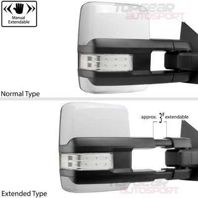 Chevy Silverado 2014-2018 White Towing Mirrors Clear LED Lights Power Heated