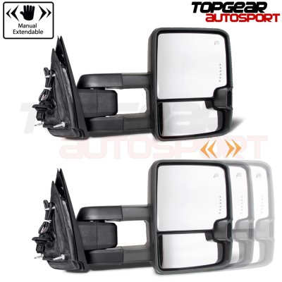 Chevy Silverado 2500HD 2015-2019 White Towing Mirrors Clear LED Lights Power Heated