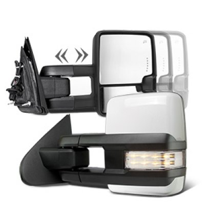 GMC Sierra 3500HD 2015-2018 White Towing Mirrors Clear LED Signal Power Heated