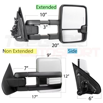 Chevy Silverado 2500HD 2015-2019 White Towing Mirrors Clear LED DRL Power Heated