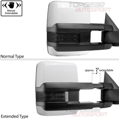 Chevy Avalanche 2003-2006 White Towing Mirrors Smoked LED Lights Power Heated
