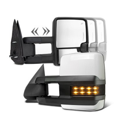 Chevy Silverado 2500 2003-2004 White Towing Mirrors Smoked LED Signal Power Heated