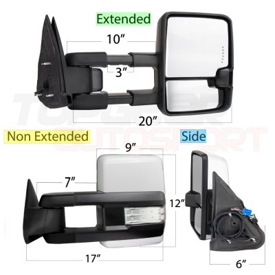 Cadillac Escalade 2003-2006 White Towing Mirrors Clear LED Signal Power Heated