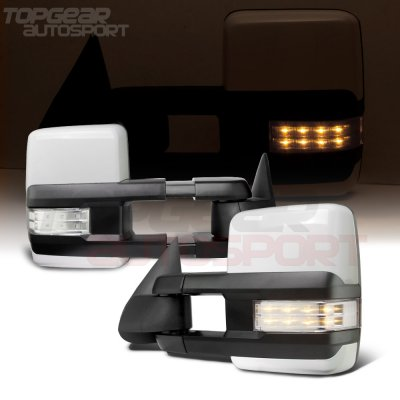 Chevy Silverado 2003-2006 White Towing Mirrors Clear LED Lights Power Heated