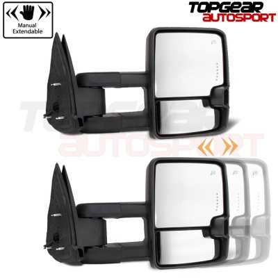 Chevy Silverado 2003-2006 White Towing Mirrors Clear Tube Signal Power Heated
