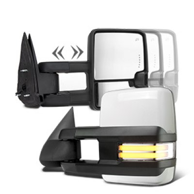 Chevy Silverado 2003-2006 White Towing Mirrors Clear LED DRL Power Heated