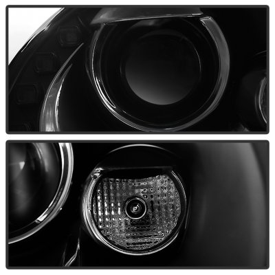 VW Beetle 2006-2010 Black Halogen Projector Headlights with LED