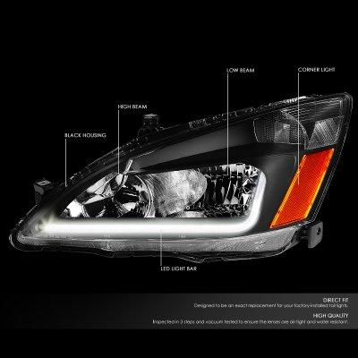 Honda Accord 2003-2007 Black Headlights Tube DRL